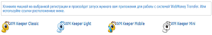 Выбор способа входа в систему WebMoney - WM Keeper Mini