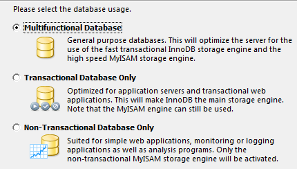 Выбираем тип баз данных с которыми будем работать