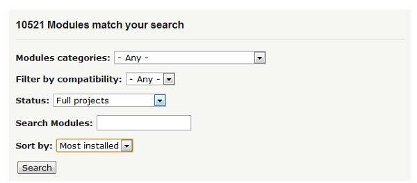 Форма поиска модулей на drupal.org