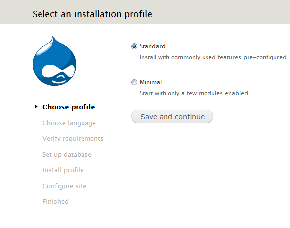 Установка Drupal на локальный сервер. Выбор типа установки.