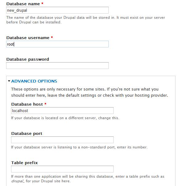 Установка Drupal на локальный сервер. Конфигурация баз данных для Drupal