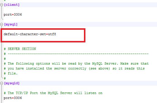 Файл конфигураций my.ini. Настройка кодировок  MySQL сервера.