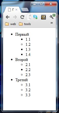 HTML теги. HTML списки. Пример использования тега <ul>. Маркированный список