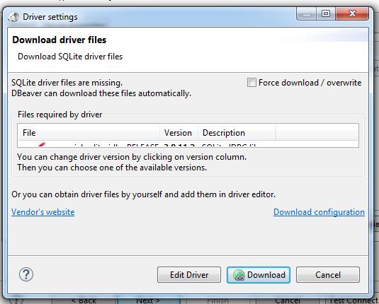 Установка драйвера, позволяющего DBeaver работать с SQLite