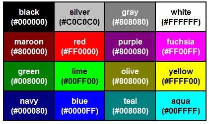 Таблица html кодов цветов