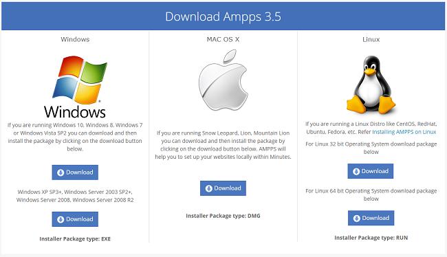 С этой страницы вы сможете скачать локальный веб-сервер AMPPS
