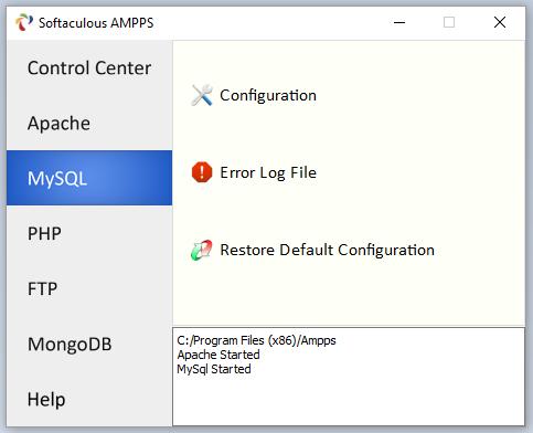 Настраиваем MySQL при помощи интерфейса веб-сервера AMPPS