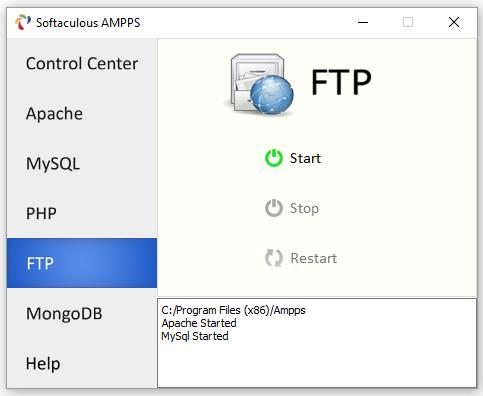 В этом окне AMPPS можно включать и отключать PHP сервер
