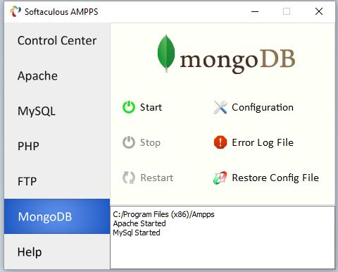 Быстрый доступ к настройкам MongoDB в веб-сервере AMPPS