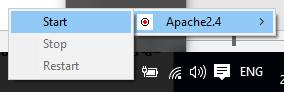 Контекстное меню для управления сервером Apache