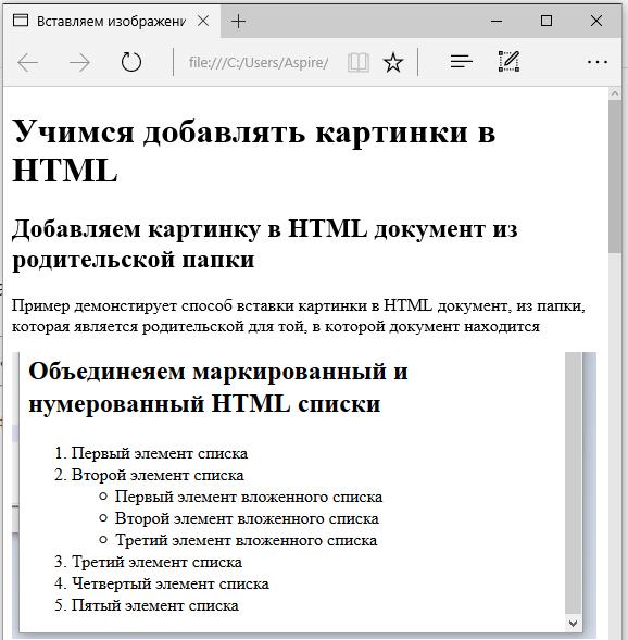 Результаты первого примера вставки картинки в HTML документ с использованием относительного пути к файлу