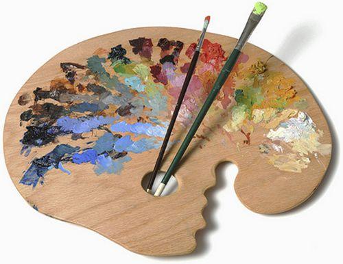 Это пример палитры художника, на которой он смешивает краски и получает разные цвета и оттенки