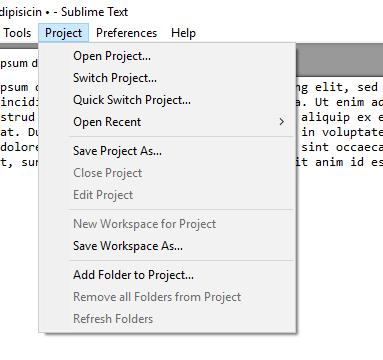 Вкладка управления проектами в JavaScript редакторе Sublime Text 3