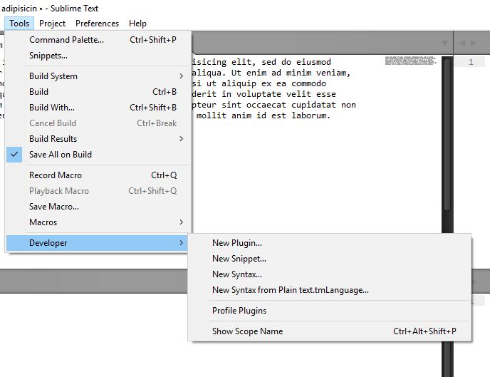 Вкладка «Tools» в JavaScript редакторе Sublime Text 3