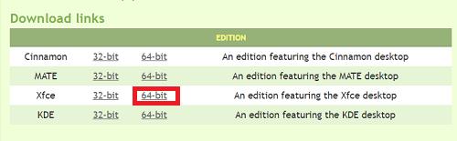 Ссылка на скачивание 64-ех битной версии Linux Mint с окружением Xfce