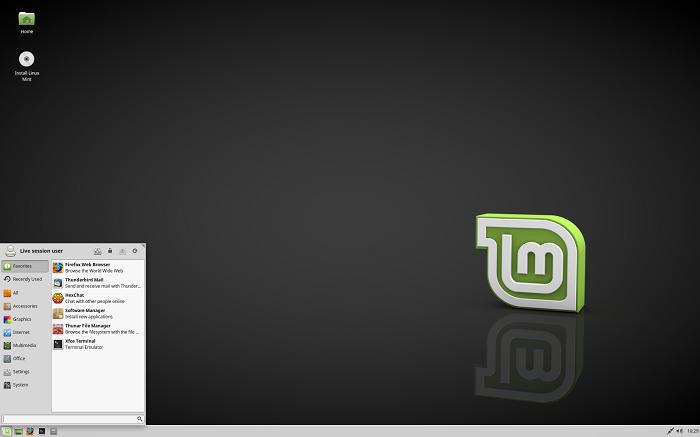 Интерфейс Linux Mint с Xfce в качестве графической оболочки