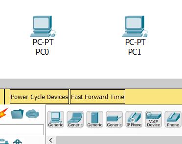 После добавления элементов в проект Packet Tracer
