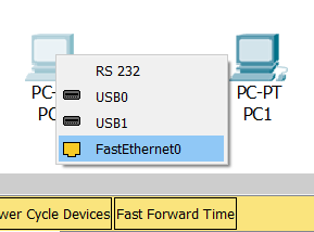 Контекстное меню Cisco Packet Tracer для соединения двух ПК
