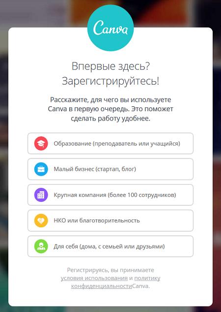 Выбираем вариант использования онлайн редактора изображений Canva