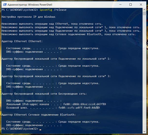Команда ipconfig /release была применена ко всем сетевым адаптерам Windows