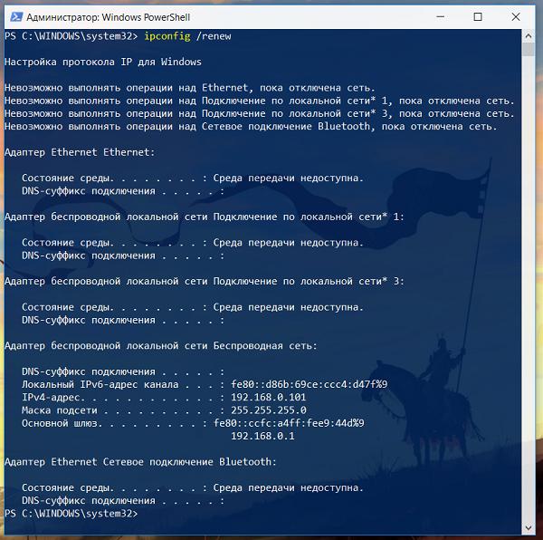 Обновляем сетевые настройки адаптера в Windows при помощи команды ipconfig /renew