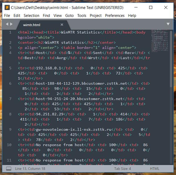 Трассировка WinMTR в виде HTML-документа в редакторе