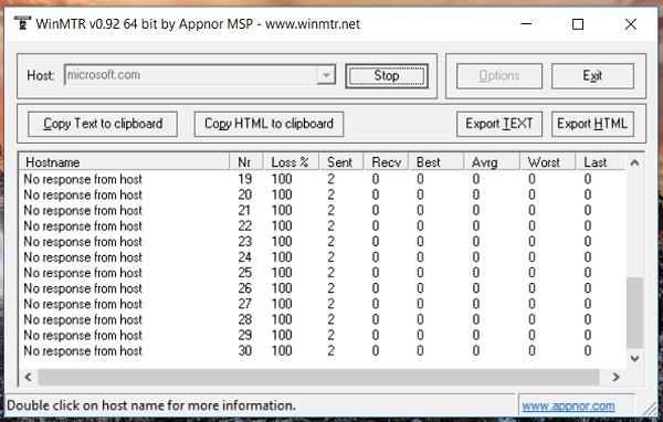 Трассировка WinMTR до узла, который не отвечает на ICMP запросы