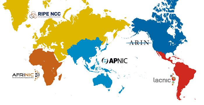 Рисунок 4.7.2 Региональные интернет регистраторы