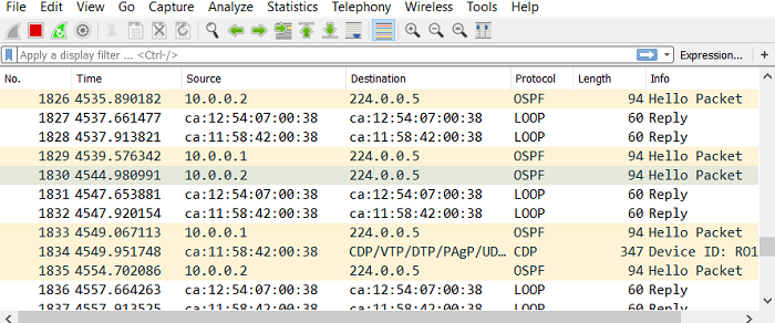 1.10 Обмен Hello пакетами после синхронизации LSDB