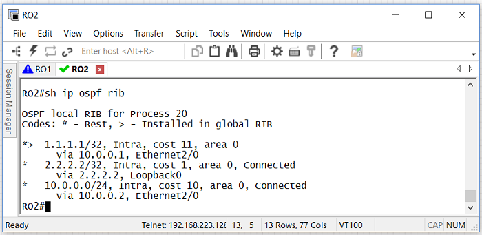 1.13 RIB таблица маршрутизатора