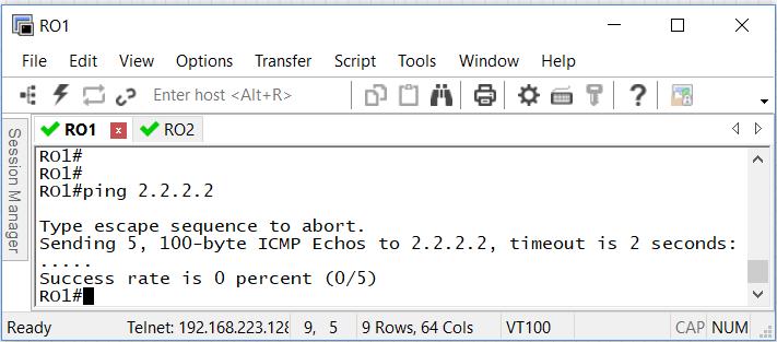 1.2 Пробуем пропинговать адрес 2.2.2.2 с роутера RO1