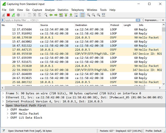 1.5 Hello-пакеты OSPF в дампе Wireshark