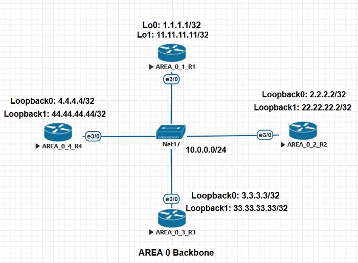 2.1 Схема сети для демонстрации выборов DR и BDR