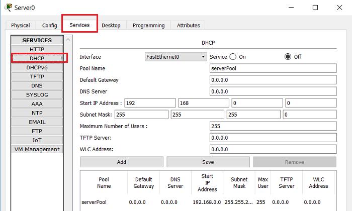 2.4 Настройки DHCP на сервере