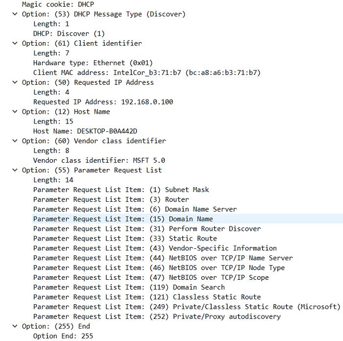 9.3.4 DHCP опции, которые передает клиент серверу в сообщение DHCPDISCOVER