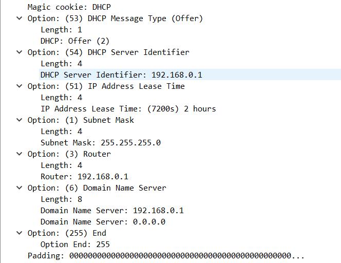 9.3.6 DHCP опции в сообщение DHCPOFFER