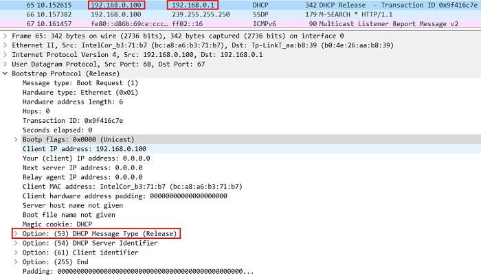9.4.2 Сообщение DHCPREALEASE, которое отправил клиент, чтобы освободить IP-адрес